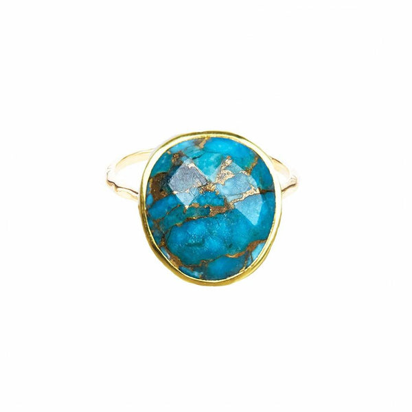 14k Gold Vermeil Statement Copper Turquoise Ring Ring Dwarkas Gold Vermeil Small