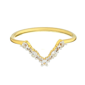 14k Gold Vermeil White Topaz Statement Hugging Ring Ring Dwarkas Gold Vermeil Small