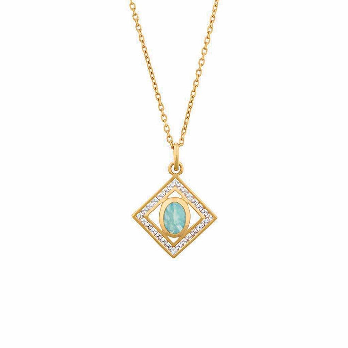 Deco Diamond Oval Amazonite Pendant in Gold Vermeil