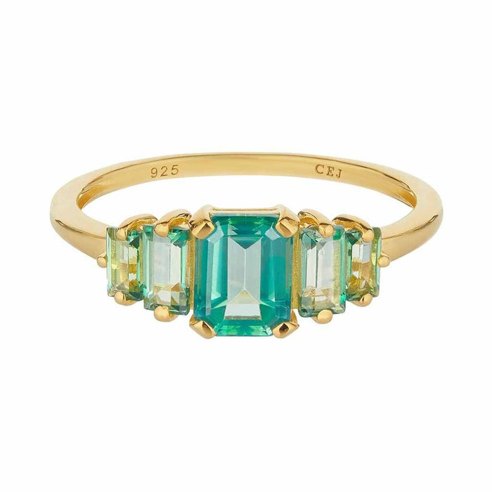 14k Gold Vermeil Fern Green Topaz Deco Ring