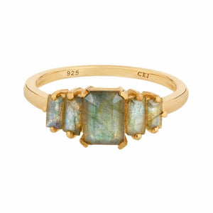 Labradorite Deco Ring in Gold Vermeil