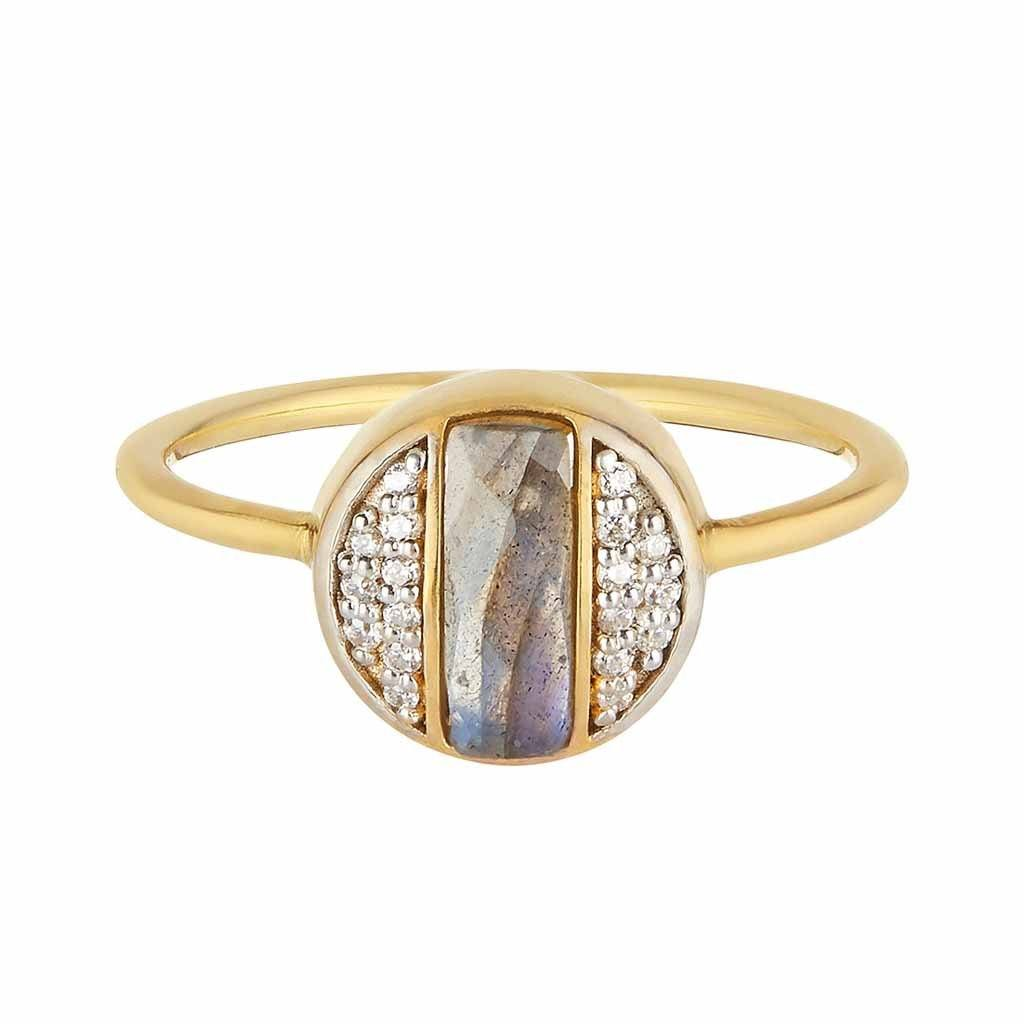 14k Gold Vermeil Deco Round Ring in Labradorite & Diamond Ring Dwarkas
