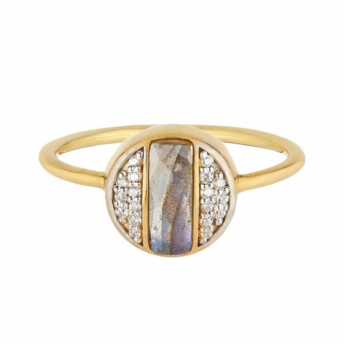 14k Gold Vermeil Deco Round Ring in Labradorite & Diamond