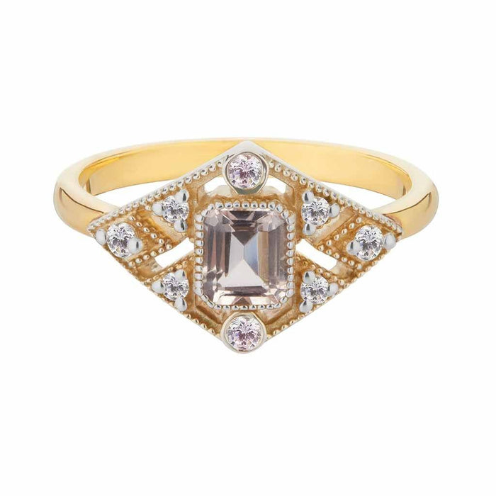 Vintage Diamond Deco Ring in Gold Vermeil