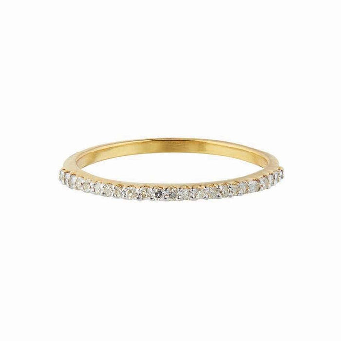 Diamond Pave Half Eternity Band In 14k Solid Gold