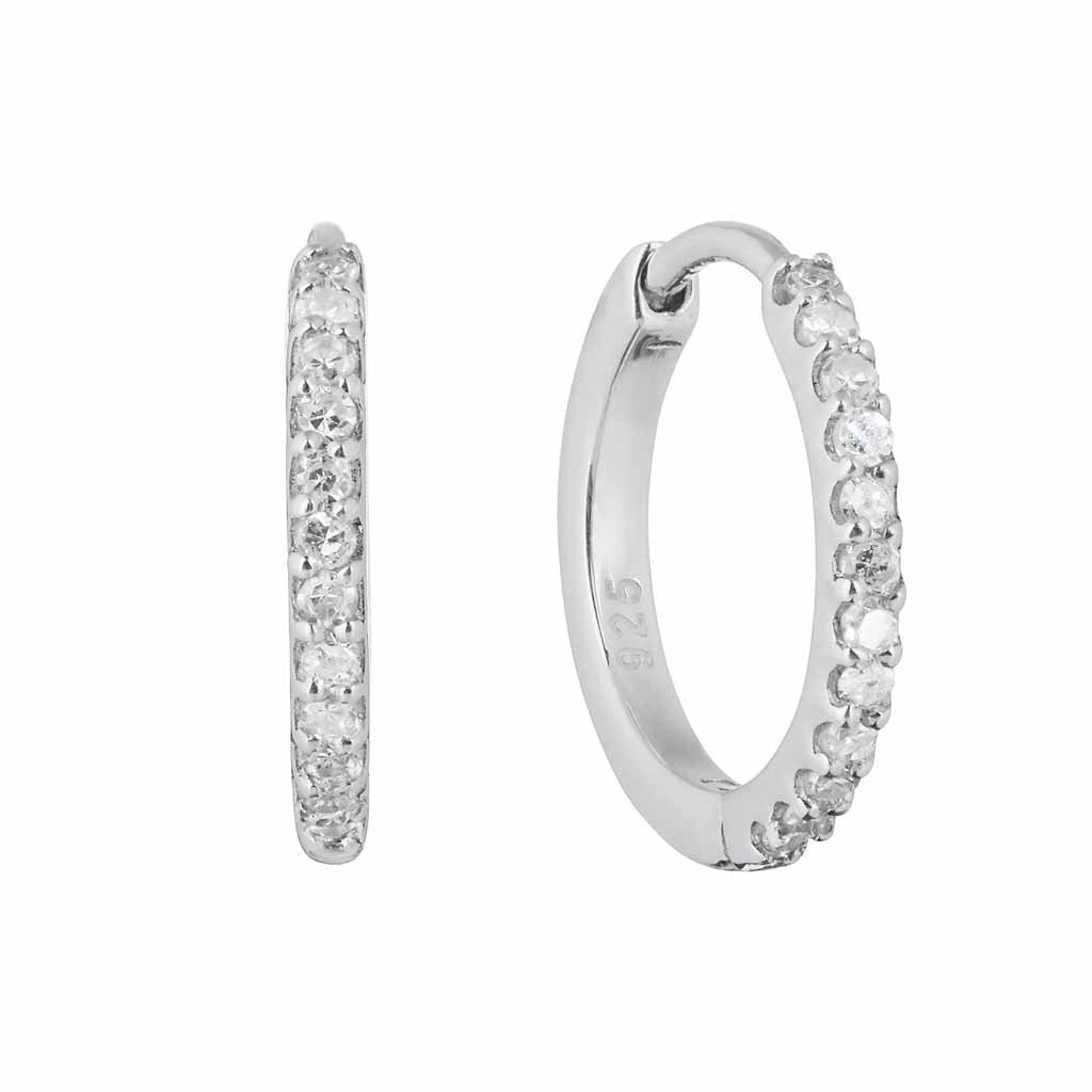 Sterling Silver Mini Hugging Hoops in Diamond Earrings VJI