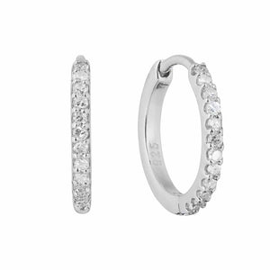 Sterling Silver Mini Hugging Hoops in Diamond  Diamond, earrings, Hoops, over-80, Silver