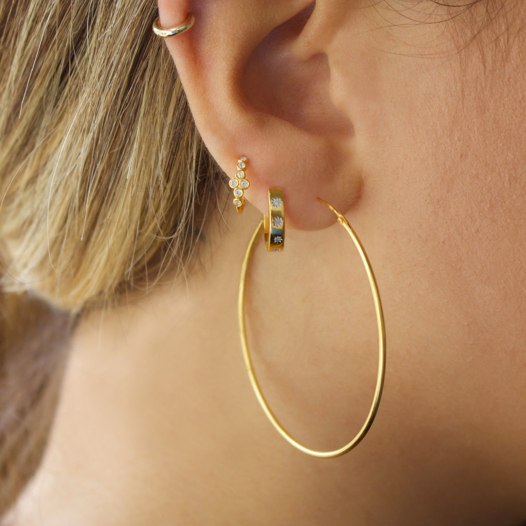 14k Gold Vermeil Large Hoop Earrings Earrings uv overseas