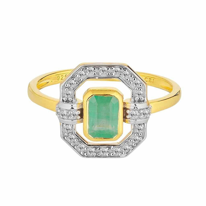 9k Solid Gold Ethereal Diamond Halo Ring in Emerald