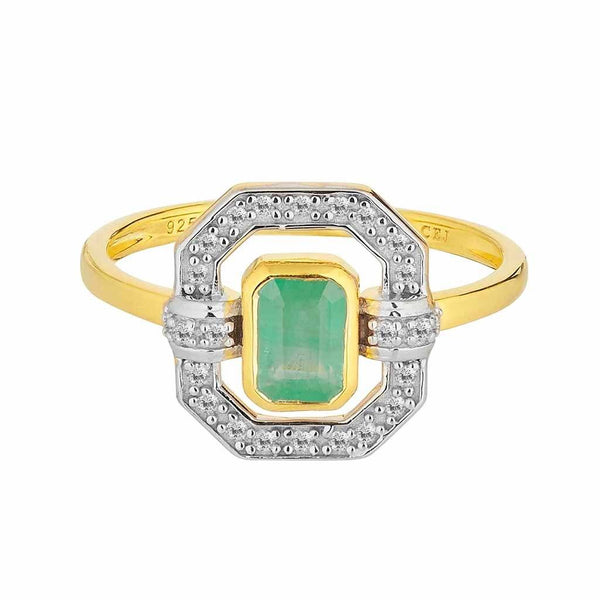 14k Gold Vermeil Ethereal Diamond Halo Ring in Emerald