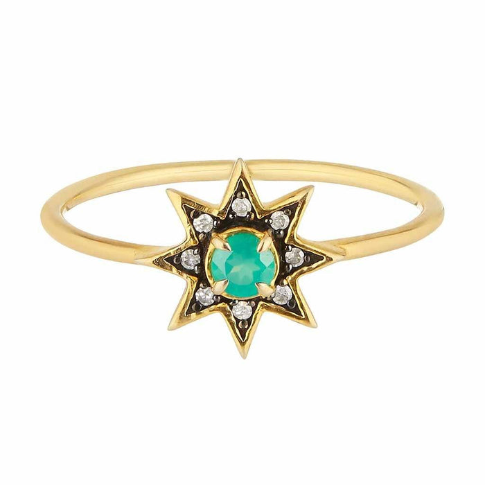 Emerald & Diamond Pave Star Ring In Gold Vermeil