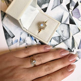 14k Solid Gold Pear Shape Moonstone & Diamond Ring