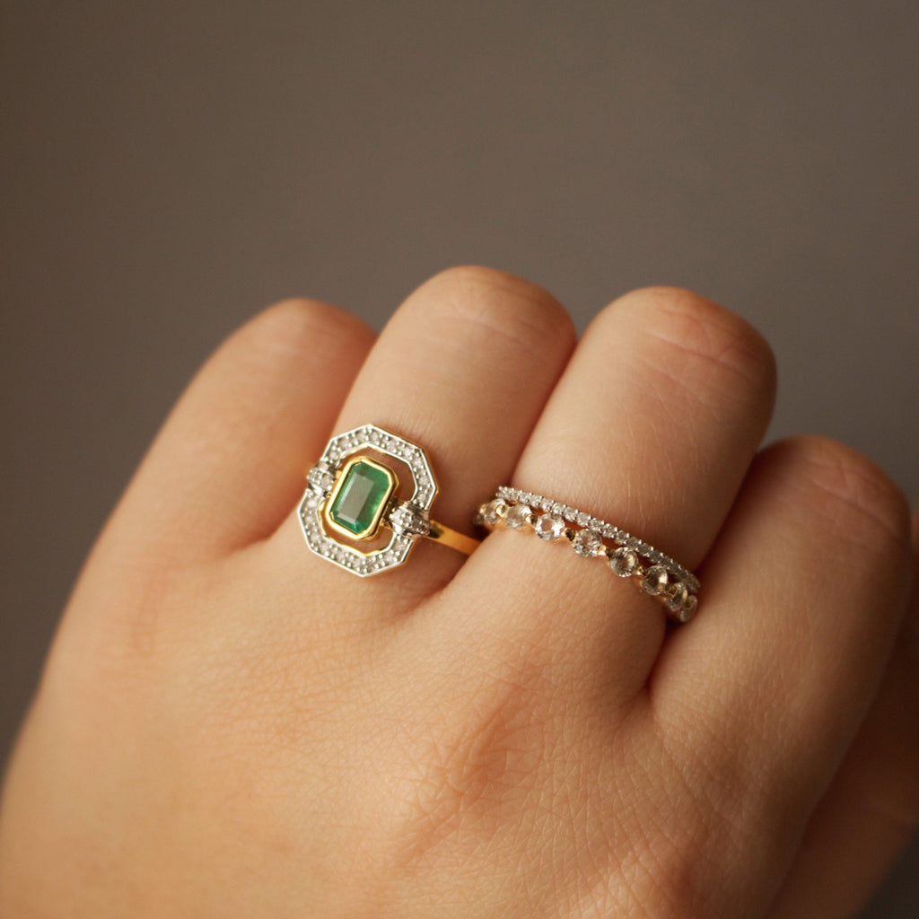 Ethereal Emerald and Diamond Halo Ring In Gold Vermeil