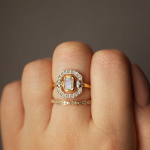 Ethereal Moonstone & Diamond Halo Ring in Gold Vermeil