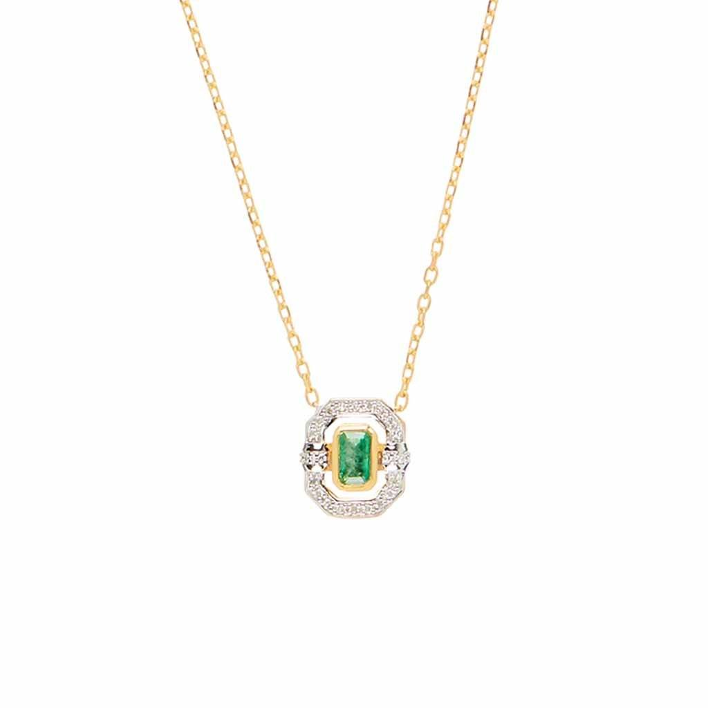 14k Gold Vermeil Ethereal Halo Necklace in Emerald & Diamond Necklace Pink City