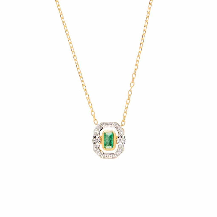 Ethereal Emerald & Diamond Halo Necklace in Gold Vermeil