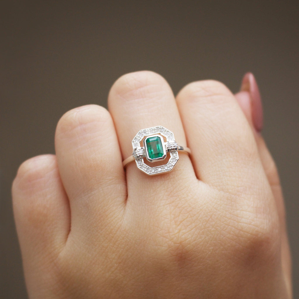 Sterling Silver Ethereal Diamond Halo Ring in Emerald Ring PINK CITY