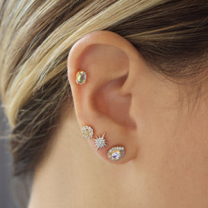 14k Gold Vermeil Opal & CZ Stud Earrings