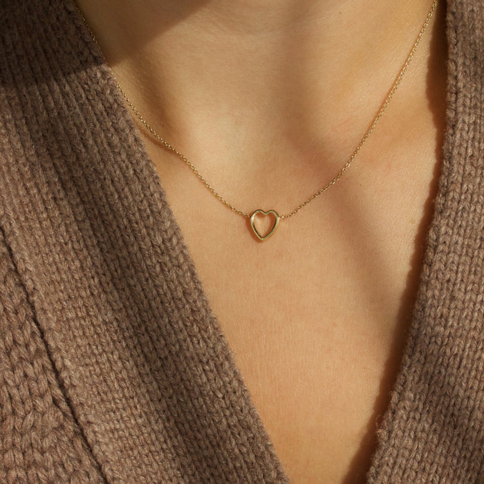 9K Solid Gold Heart Necklace