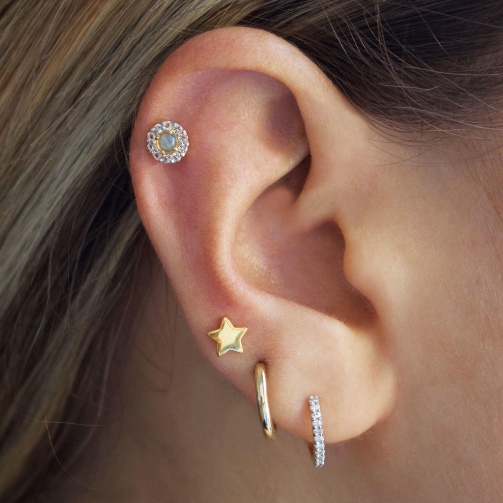 Opal & CZ Stud Earrings In Gold Vermeil