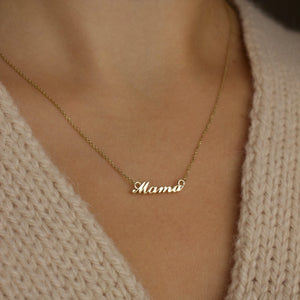 9K Solid Gold Mama Necklace
