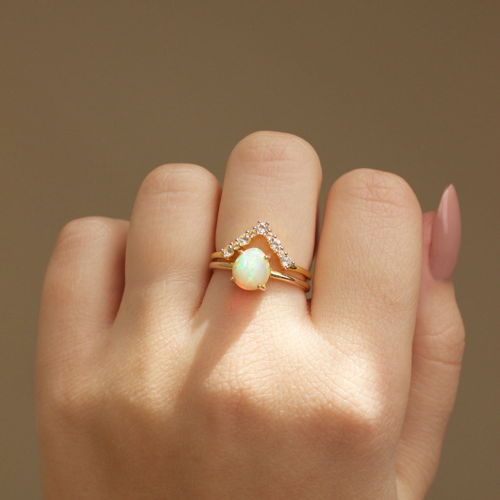 14k Gold Vermeil Faceted Opal Ring Ring uv overseas