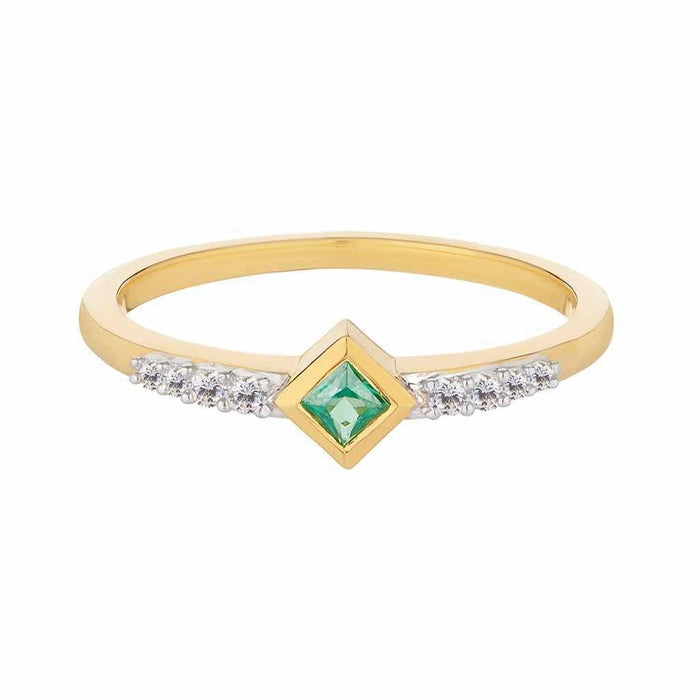 Fern Green Topaz Deco Stacking Ring in Gold Vermeil