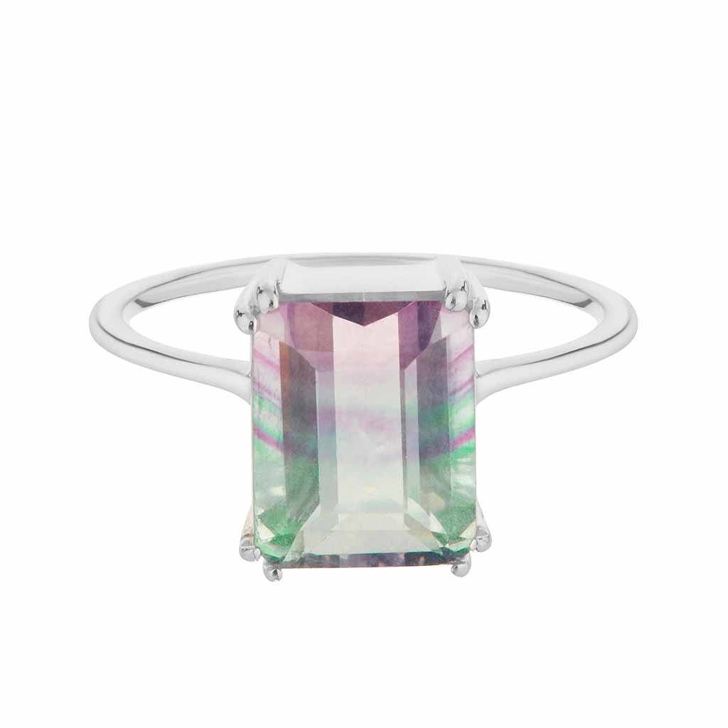 Sterling Silver Fluorite Prong Set Ring Ring Pink City