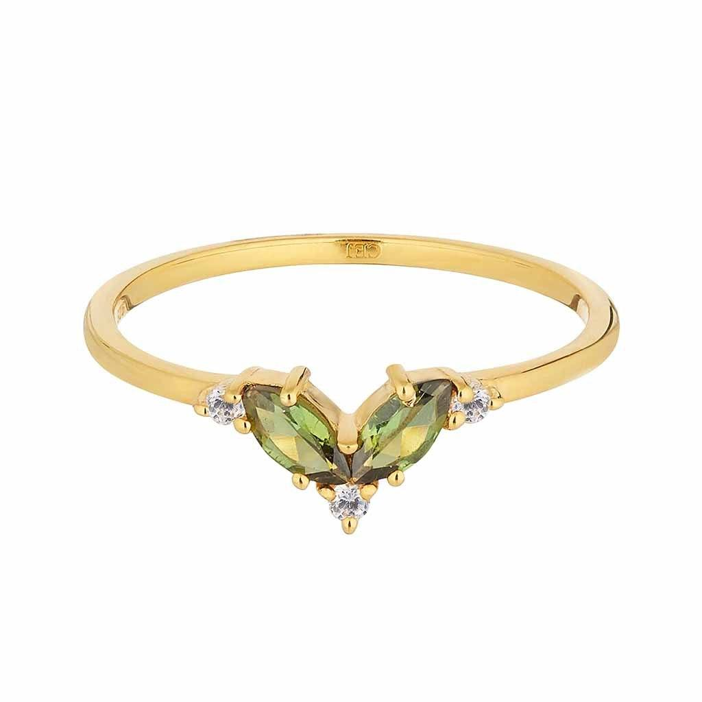 14k Gold Vermeil Fern Green & White Topaz Galactic Ring Ring uv overseas