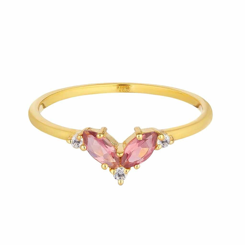 Pink Tourmaline & White Topaz Galactic Ring In Gold Vermeil