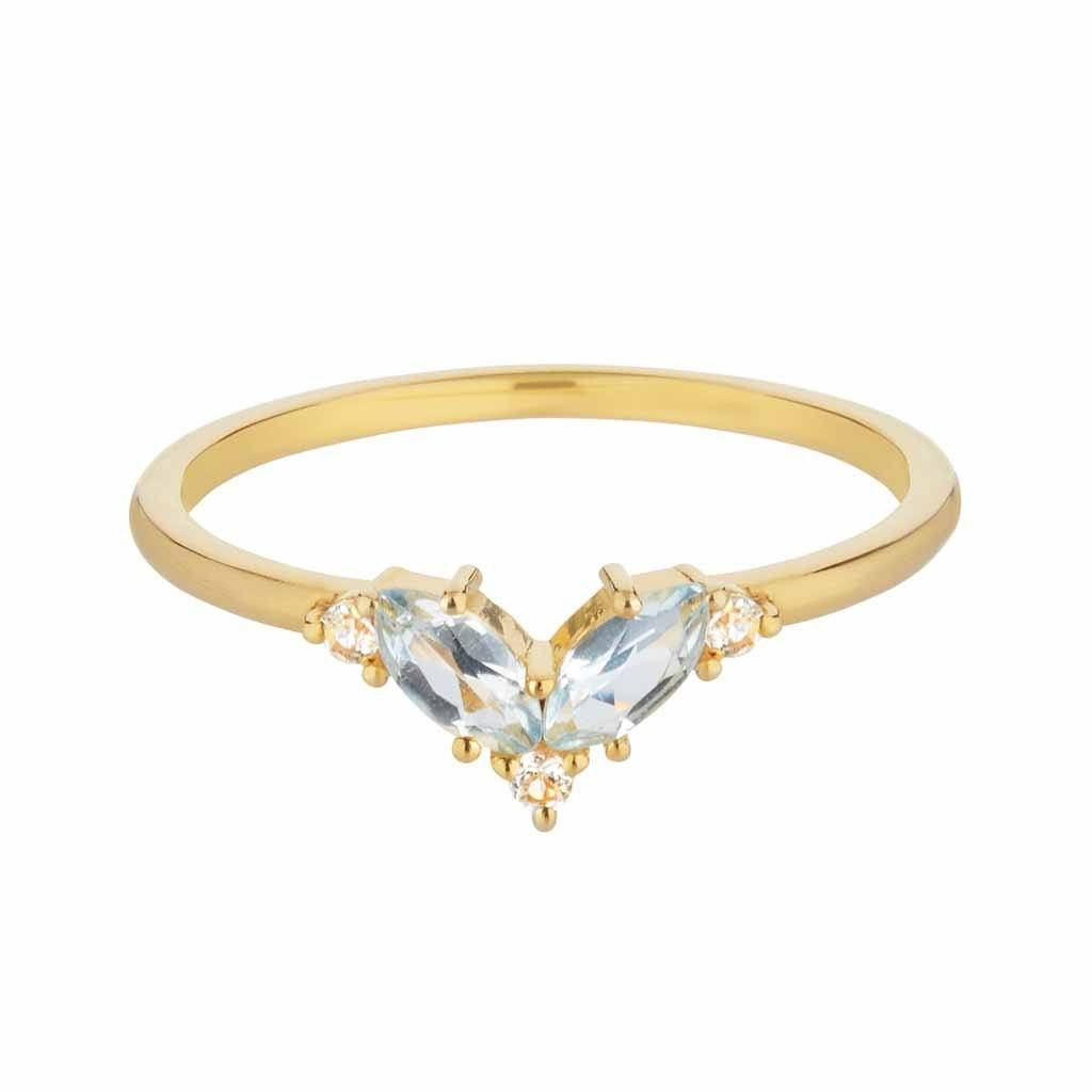 14k Gold Vermeil Blue & White Topaz Galactic Ring Ring uv overseas