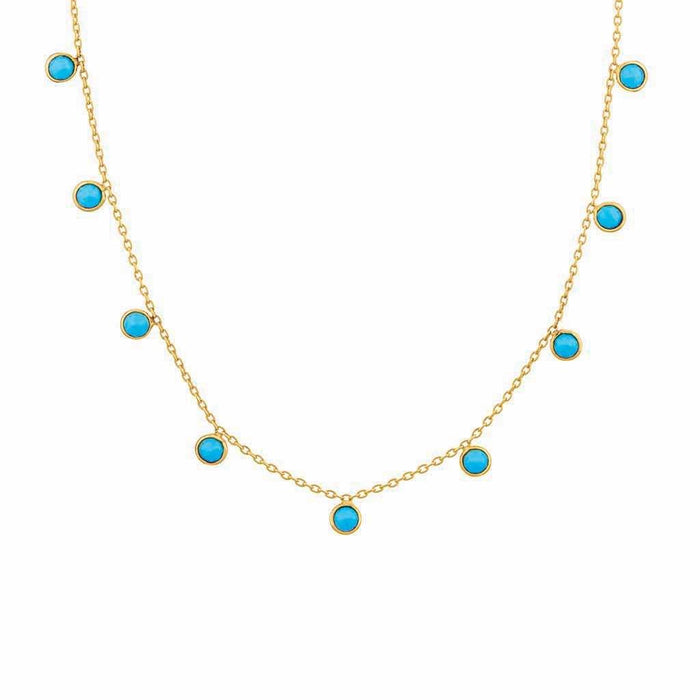 Turquoise Droplet Necklace in Gold Vermeil
