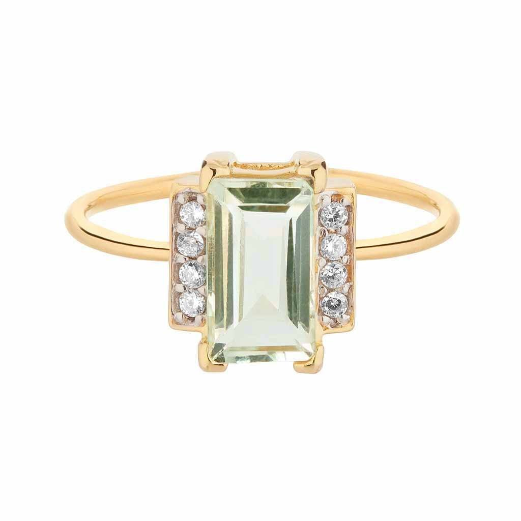Georgia Green Amethyst & Diamond Ring in 9k Solid Gold