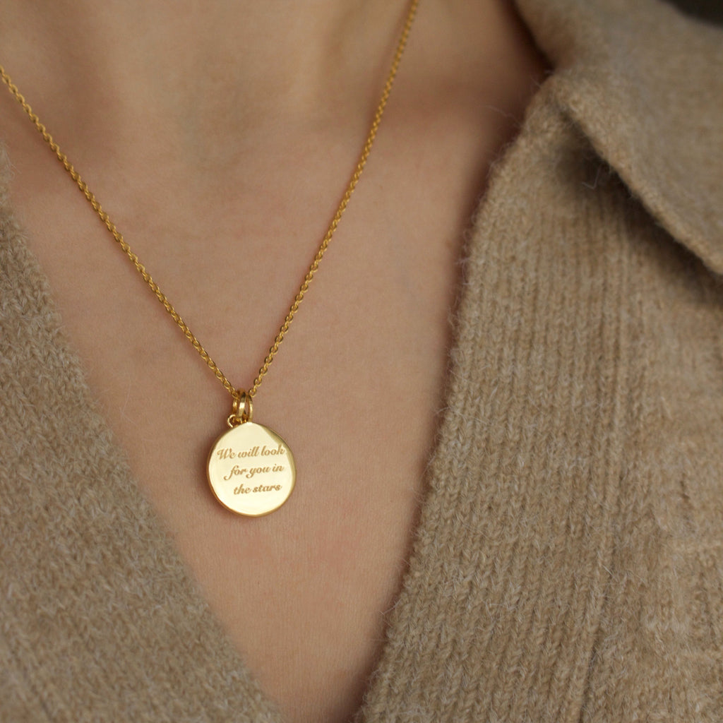 """We will look for you in the stars"" Coin Necklace with Crescent Moon Charm In Gold Plating"