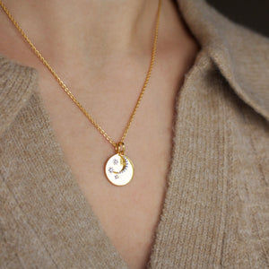 "14k Gold Plated ""We will look for you in the stars"" Coin Necklace with Crescent Moon Charm"
