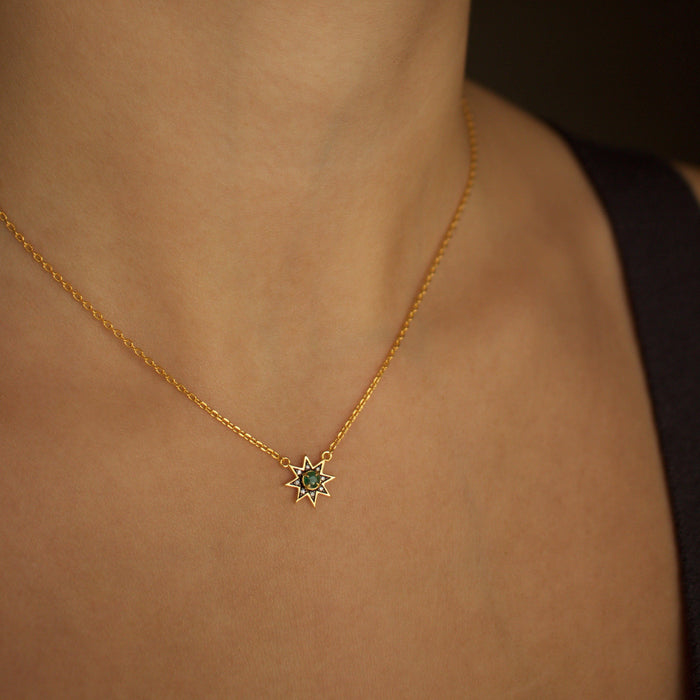 14k Gold Vermeil Emerald & Diamond Pave Star Necklace