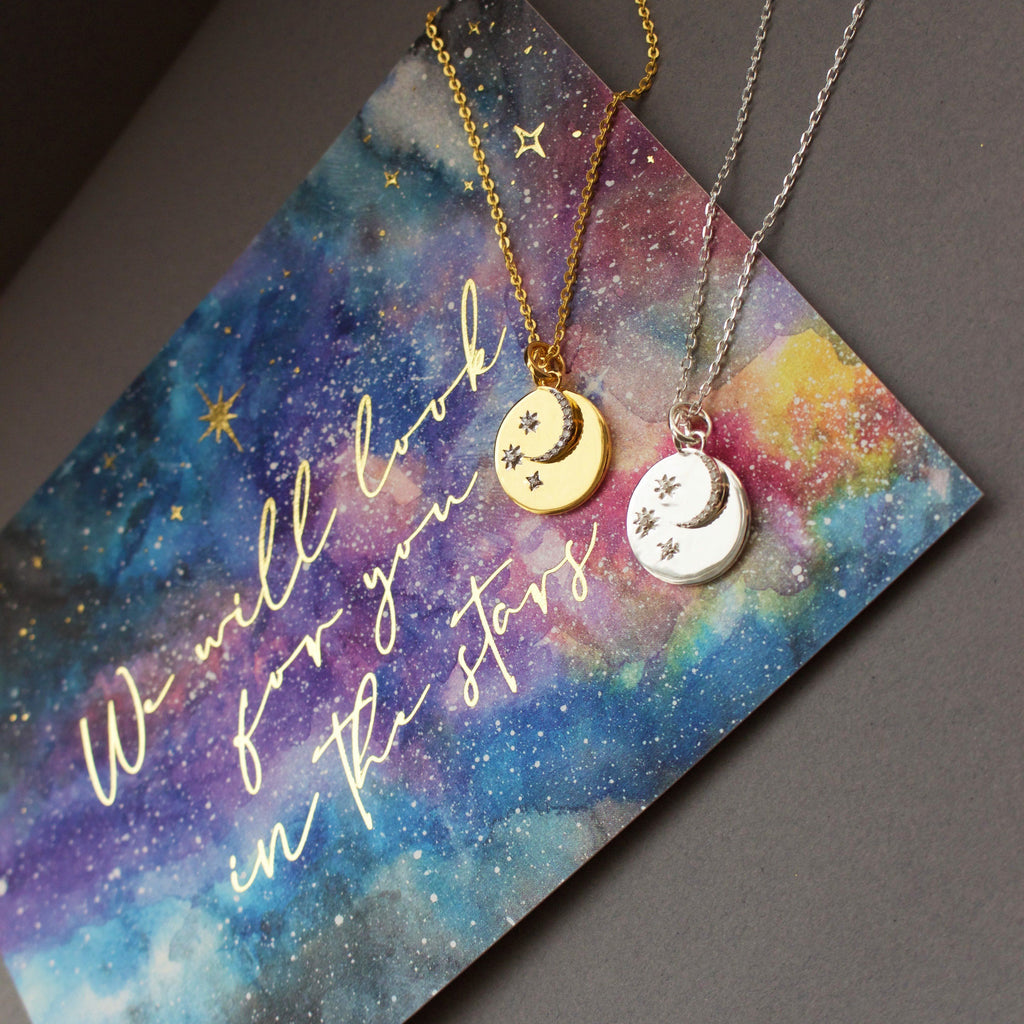 "Sterling Silver ""We will look for you in the stars"" Coin Necklace with Crescent Moon Charm Necklace Pink City"