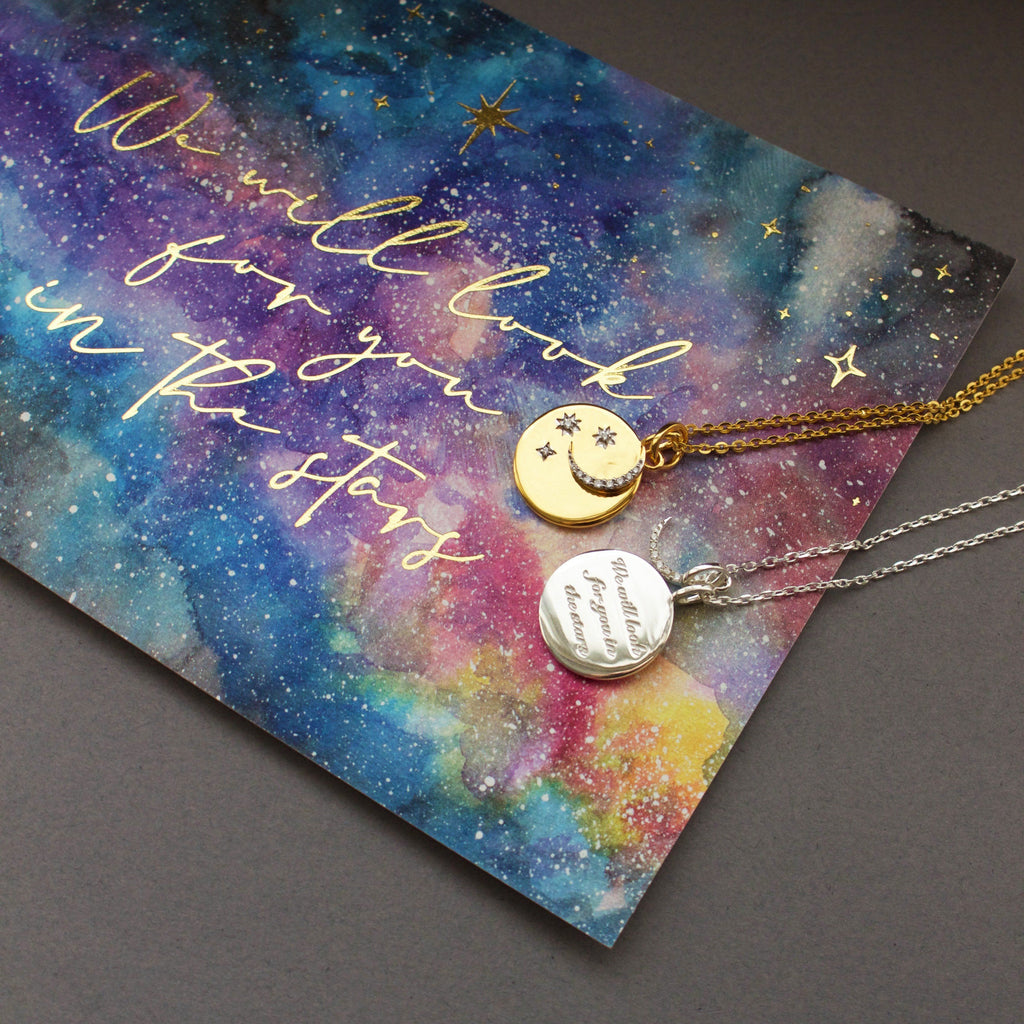 "14k Gold Plated ""We will look for you in the stars"" Coin Necklace with Crescent Moon Charm Necklace Pink City"