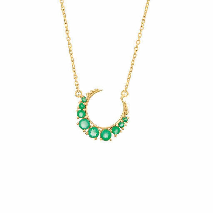 Green Onyx Crescent Moon Necklace in Gold Vermeil