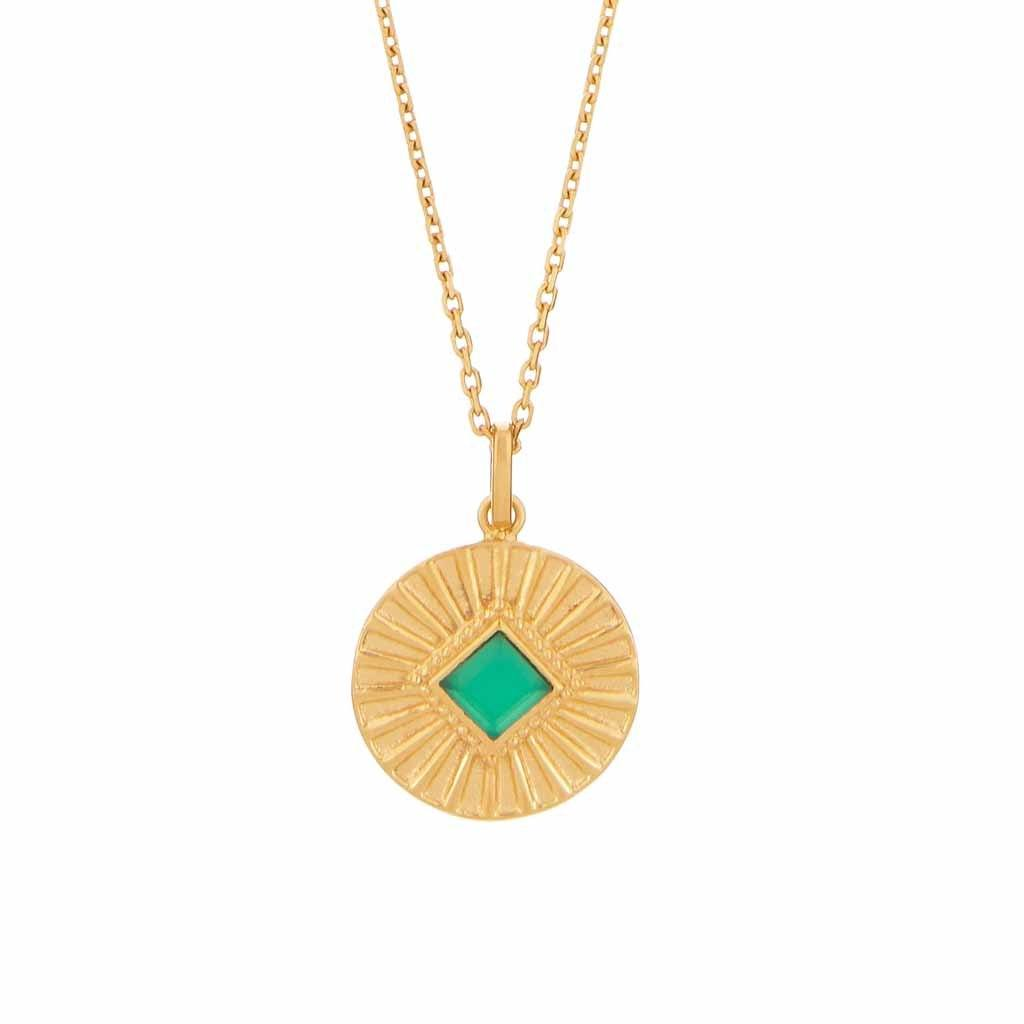 14k Gold Vermeil Green Onyx Sunray Coin Pendant Necklace Dwarkas