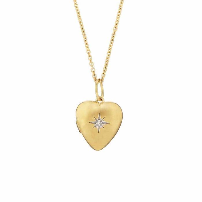 14k Gold Vermeil Diamond Star Set Heart Locket