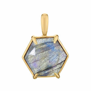 Faceted Labradorite Hexagon Pendant in Gold Vermeil