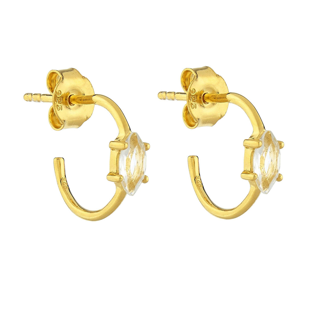 14k Gold Vermeil Marquise Shape Claw Set Hoops in White Topaz 65.00 Best Seller, earrings, Gold, Hoops, under-80