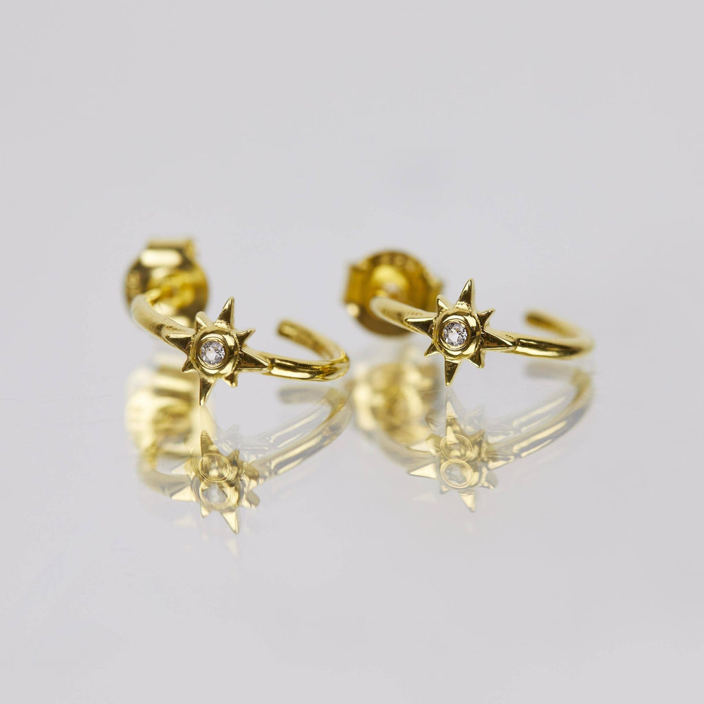 14k Gold Vermeil Star Hoops in White Topaz  Cosmos, earrings, Gold, Hoops, Semi Precious, under-80