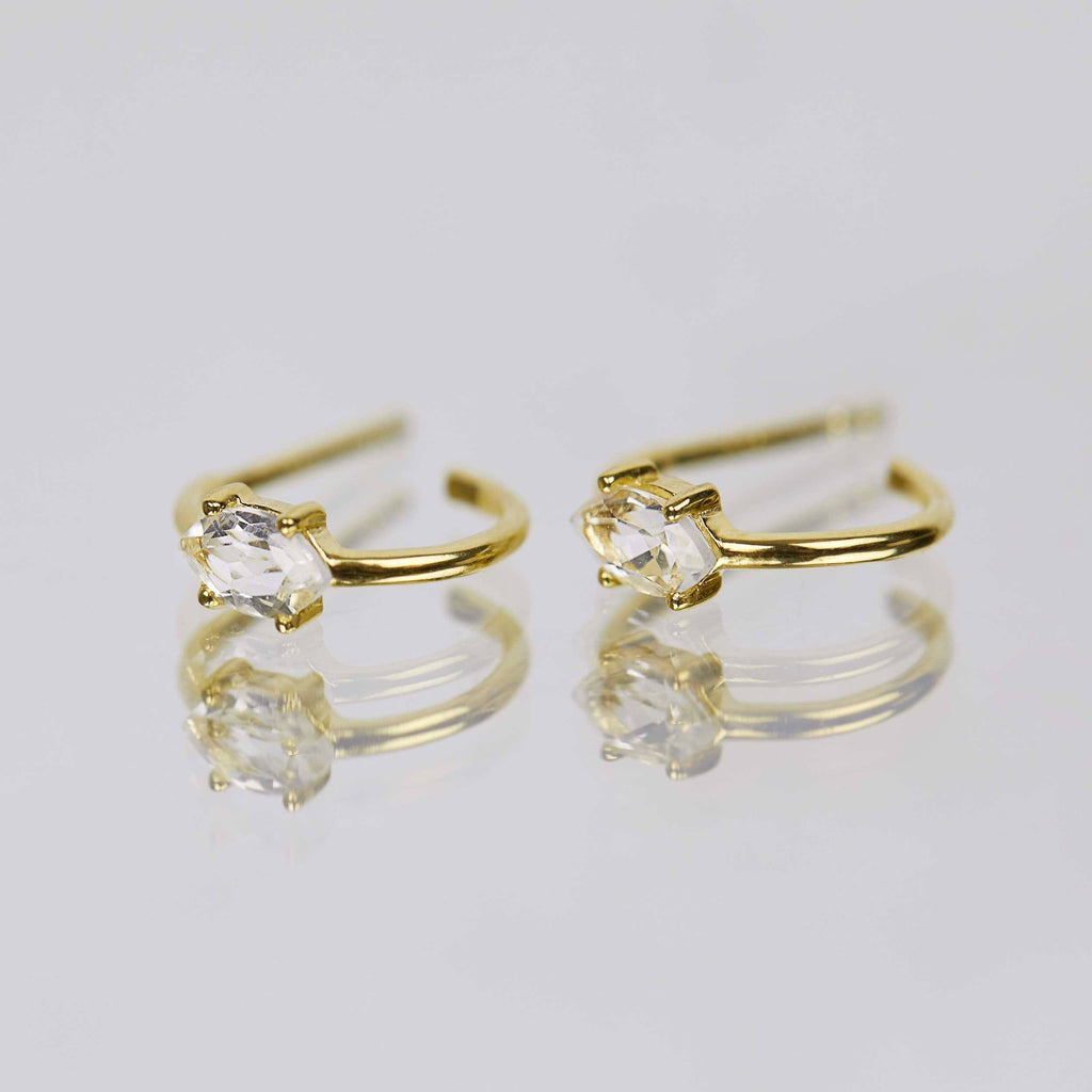 14k Gold Vermeil Marquise Shape Claw Set Hoops in White Topaz  Best Seller, earrings, Gold, Hoops, under-80