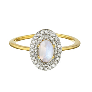 14K Gold Vermeil Vintage Ring in Moonstone & Diamond 160.00 Diamond, Gold, Moonstone, over-80, ring, Semi Precious