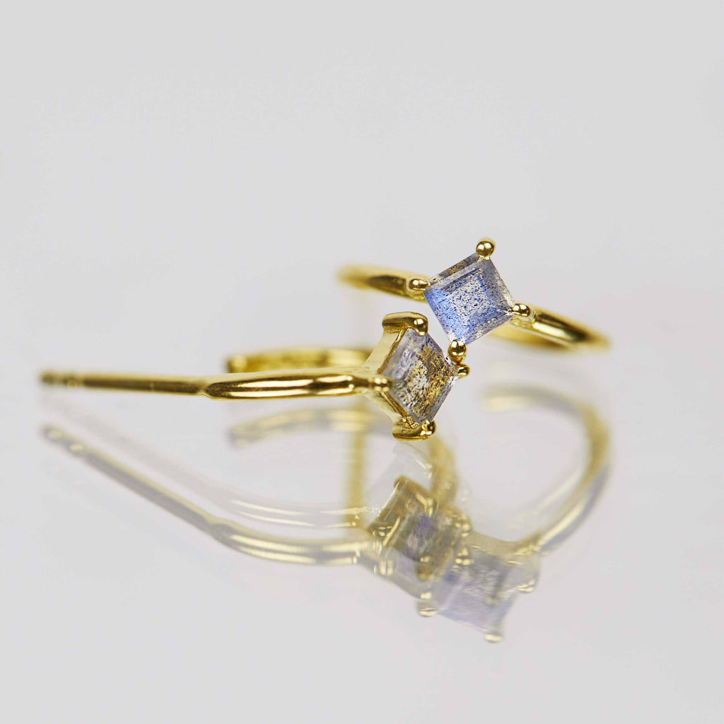 14K Gold Vermeil Diamond Shape Claw Set Hoops in Labradorite  Best Seller, earrings, Gold, hoops, Labradorite, Semi Precious, under-80