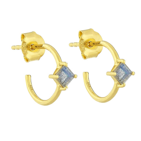 14K Gold Vermeil Diamond Shape Claw Set Hoops in Labradorite