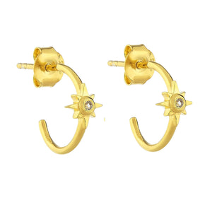 14k Gold Vermeil Star Hoops in White Topaz Earrings Malya Gold