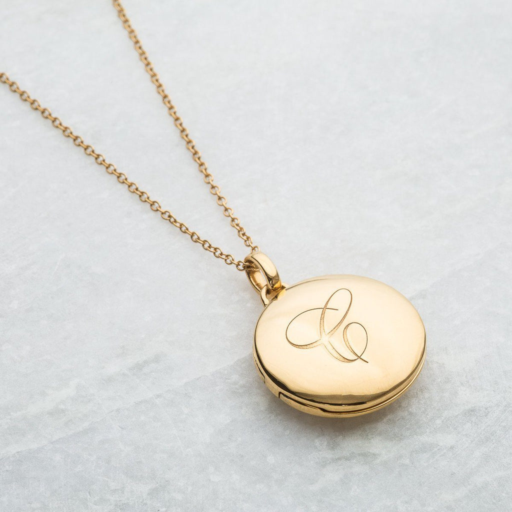 14k Gold Vermeil Engraved Initial Locket Necklace with Diamond Detail Necklace VJI Gold Vermeil C